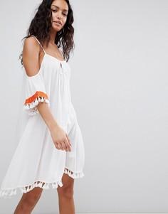 Пляжное платье с открытыми плечами и вышивкой Anmol - Белый