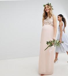 Платье макси с отделкой пайетками на лифе TFNC Maternity - Розовый