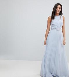Платье макси с кружевными вставками и плиссированной юбкой ASOS DESIGN Tall - Мульти