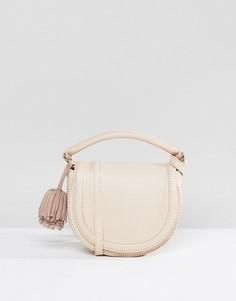 Кожаная сумка-седло ASOS - Кремовый