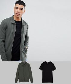 Набор из облегающей куртки Харрингтон и обтягивающей футболки ASOS - Мульти