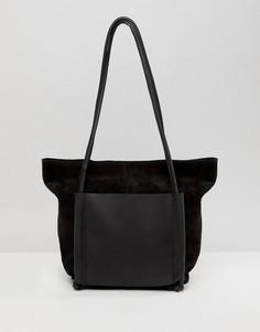 Замшевая сумка для покупок с двумя карманами из кожи ASOS DESIGN - Черный