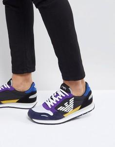 Разноцветные кроссовки с замшевыми вставками Emporio Armani - Мульти