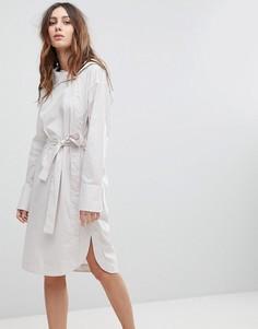 Платье с асимметричным воротником и поясом EVIDNT - Белый