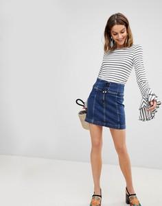 Джинсовая юбка с корсетной вставкой Free People Modern Femme - Синий