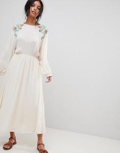 Платье макси с вышивкой Moon River - Бежевый