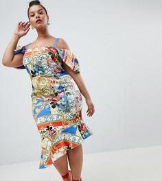 Платье миди с вырезами на плечах и принтом ASOS DESIGN Curve - Мульти