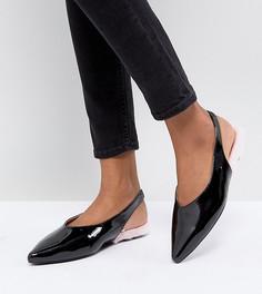 Лакированные туфли на плоской подошве с ремешком через пятку Monki - Черный