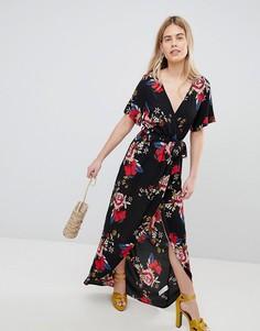 Платье миди с запахом и принтом New Look - Черный