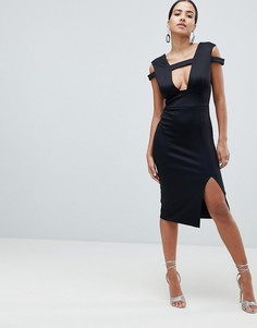 Платье миди с вырезом ASOS DESIGN - Черный