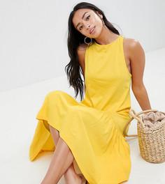 Платье макси асимметричной баской ASOS DESIGN Petite - Желтый