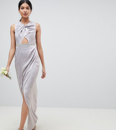ASOS DESIGN Wedding Tall pearl trim twist front maxi dress - Серый