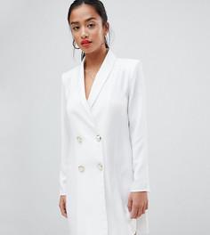 Платье мини в стиле смокинга с искусственным жемчугом на пуговицах ASOS DESIGN Petite - Белый
