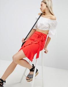 Мини-юбка с запахом и поясом ASOS DESIGN - Красный