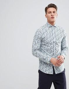 Рубашка зауженного кроя с цветочным принтом Selected Homme - Белый