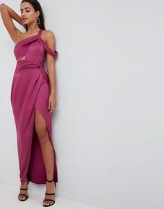 Атласное платье макси с запахом и перекрученной отделкой ASOS DESIGN - Розовый