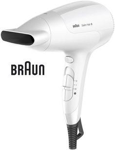 Фен BRAUN HD 380, 2000Вт, белый и серебристый