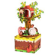 Конструктор Robotime Музыкальная шкатулка 3D Tree House 98 дет. AM408