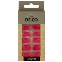 Набор накладных ногтей `DE.CO.` bright pink (24 шт + клеевые стикеры 24 шт) Deco