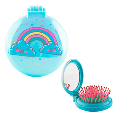 Расческа с зеркалом `MISS PINKY` BRIGHT Rainbow голубая