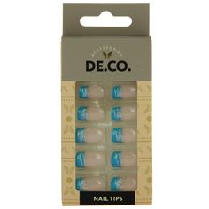 Набор накладных ногтей `DE.CO.` blue french (24 шт + клеевые стикеры 24 шт) Deco