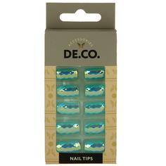 Набор накладных ногтей `DE.CO.` HOLOGRAM blue light (24 шт + клеевые стикеры 24 шт) Deco