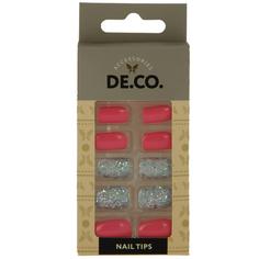 Набор накладных ногтей `DE.CO.` coral party (24 шт + клеевые стикеры 24 шт) Deco