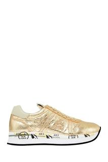 Золотистые кожаные кроссовки Premiata