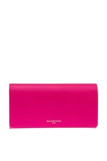 Розовый кожаный кошелек Continental Balenciaga