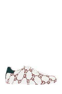 Белые кожаные кроссовки Ace с монограммами Gucci