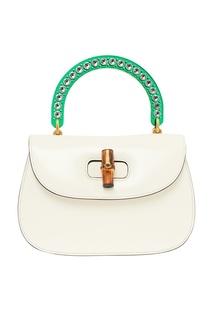 Белая кожаная сумка Bamboo Medium Gucci