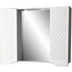 Зеркальный шкаф Меркана Мадрид 105 см, 2 шкафа по бокам, с точечными светильниками, выключатель с розеткой, белый (30646)