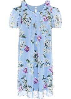 Платье из искусственного шелка с вырезами (нежно-голубой с рисунком) Bonprix