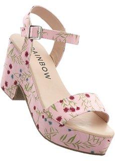 Босоножки на платформе (розовый с узором) Bonprix