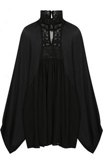 Шелковая блуза с воротником-стойкой и кружевными вставками Ann Demeulemeester