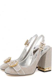 Туфли Keira из металлизированного текстиля на устойчивом каблуке Dolce & Gabbana