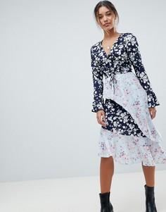 Асимметричное платье с цветочным принтом Missguided - Синий
