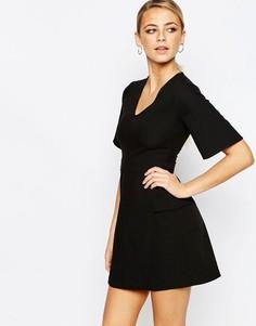 Платье-трапеция с карманами Boohoo - Черный