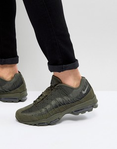 Зеленые жаккардовые кроссовки Nike Air Max 95 Ultra 749771-301 - Зеленый