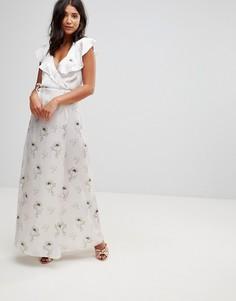 Атласное платье макси с запахом и поясом Oh My Love - Красный