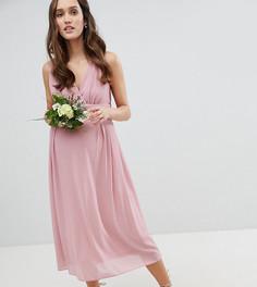 Платье миди с запахом и поясом TFNC Maternity Bridesmaid - Розовый
