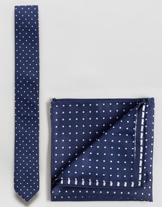 Галстук и платок-паше в горошек в комплекте ASOS - Темно-синий