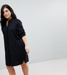 Хлопковое платье-рубашка мини ASOS DESIGN Curve - Черный