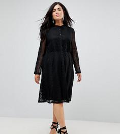 Кружевное платье-рубашка Yumi Plus - Черный
