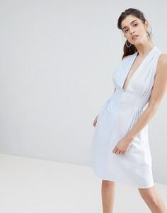 Асимметричное платье в полоску Boohoo - Синий