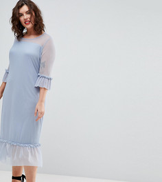 Платье миди с оборкой на подоле Junarose - Синий