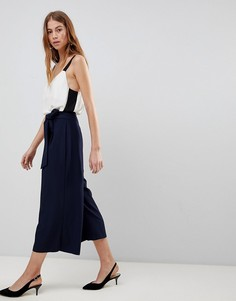 ASOS DESIGN self tie pleat culotte - Темно-синий