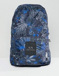 Синий нейлоновый рюкзак с принтом Armani Exchange - Синий