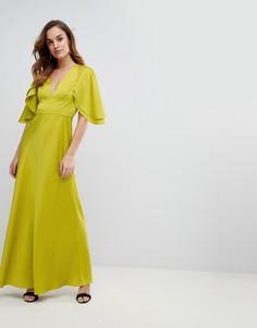 Атласное платье макси с расклешенными рукавами ASOS - Зеленый