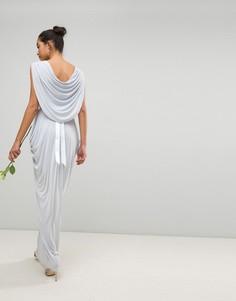 Платье макси с драпировкой и отделкой камнями на поясе Club L - Синий